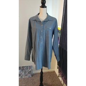 Blue Linen Faux Denim Button Up